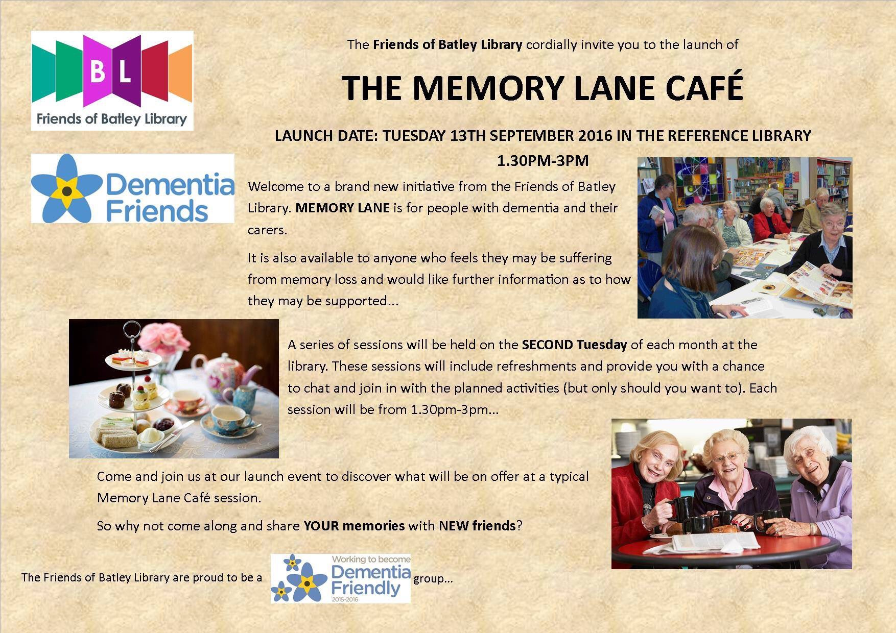 flyer for the memory lane cafe