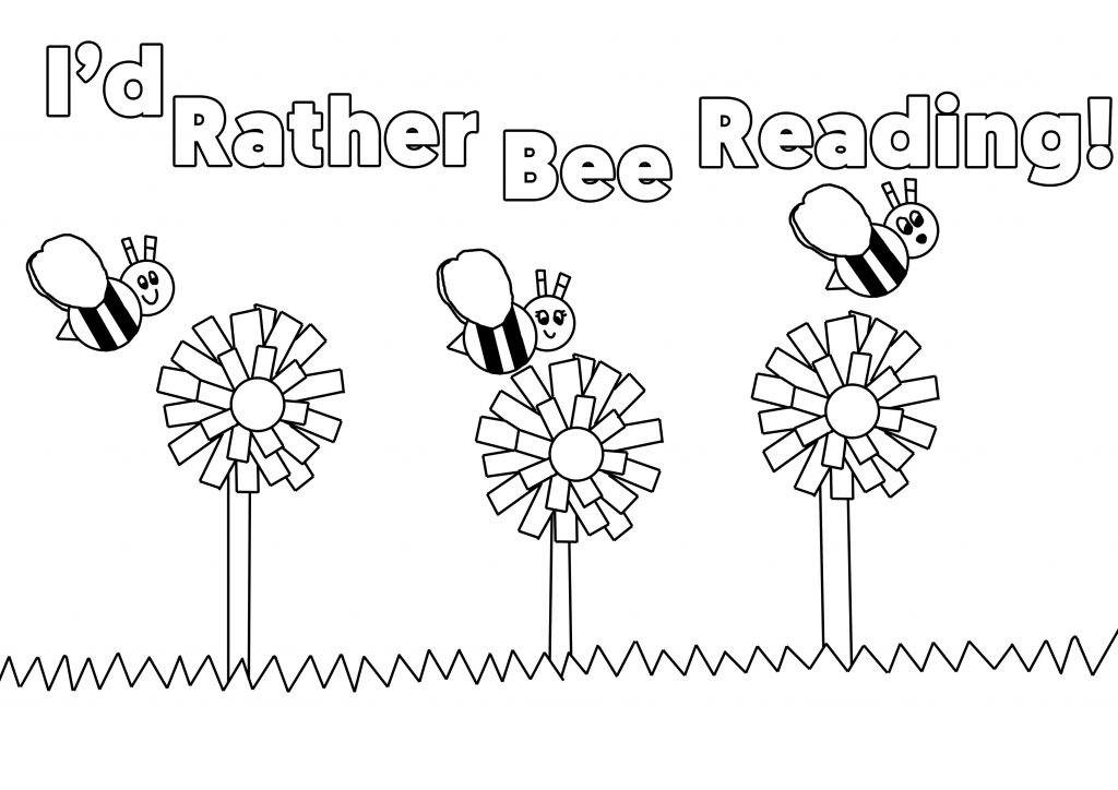 Rather Bee Reading Colouring Sheet